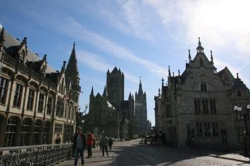 Belgien Gent Belfried und Sint-Baafskathedraal