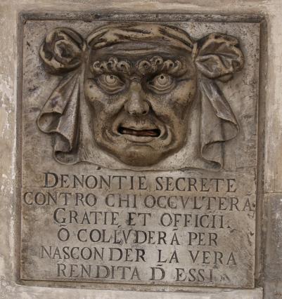 Venedig Dogenpalast Beschwerdebriefkasten Bocca di Leone