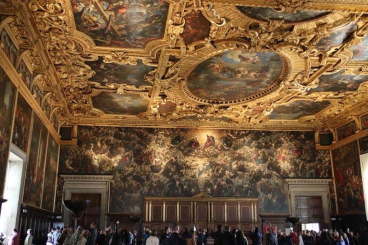 Venedig Dogenpalast Saal des großen Rates mit Tintorettos Paradies