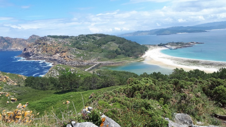 Spanien Galizien Islas Cies Pedra da Campá Aussicht