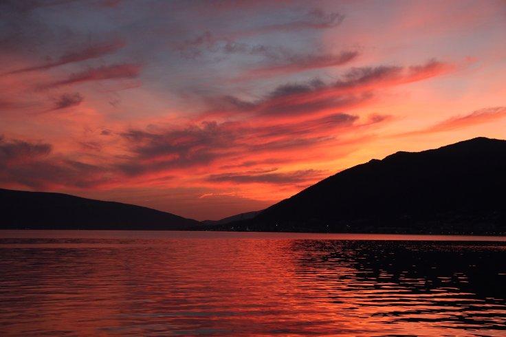 Montenegro Bay of Kotor Sonnenuntergang