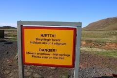 Seltun Geothermalgebiet Warnschild