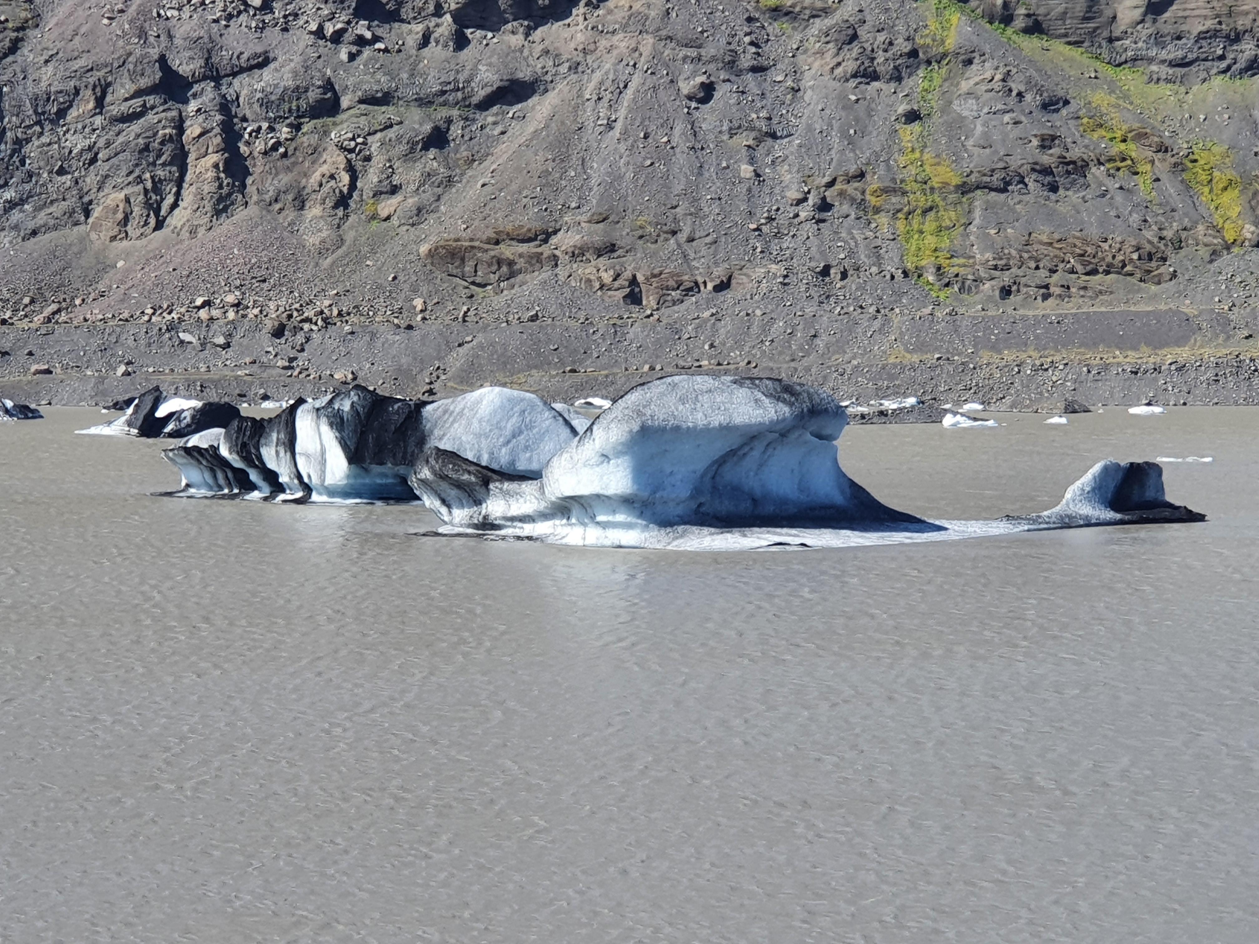 Gletschersee des Solheimajökull mit Eisbergen