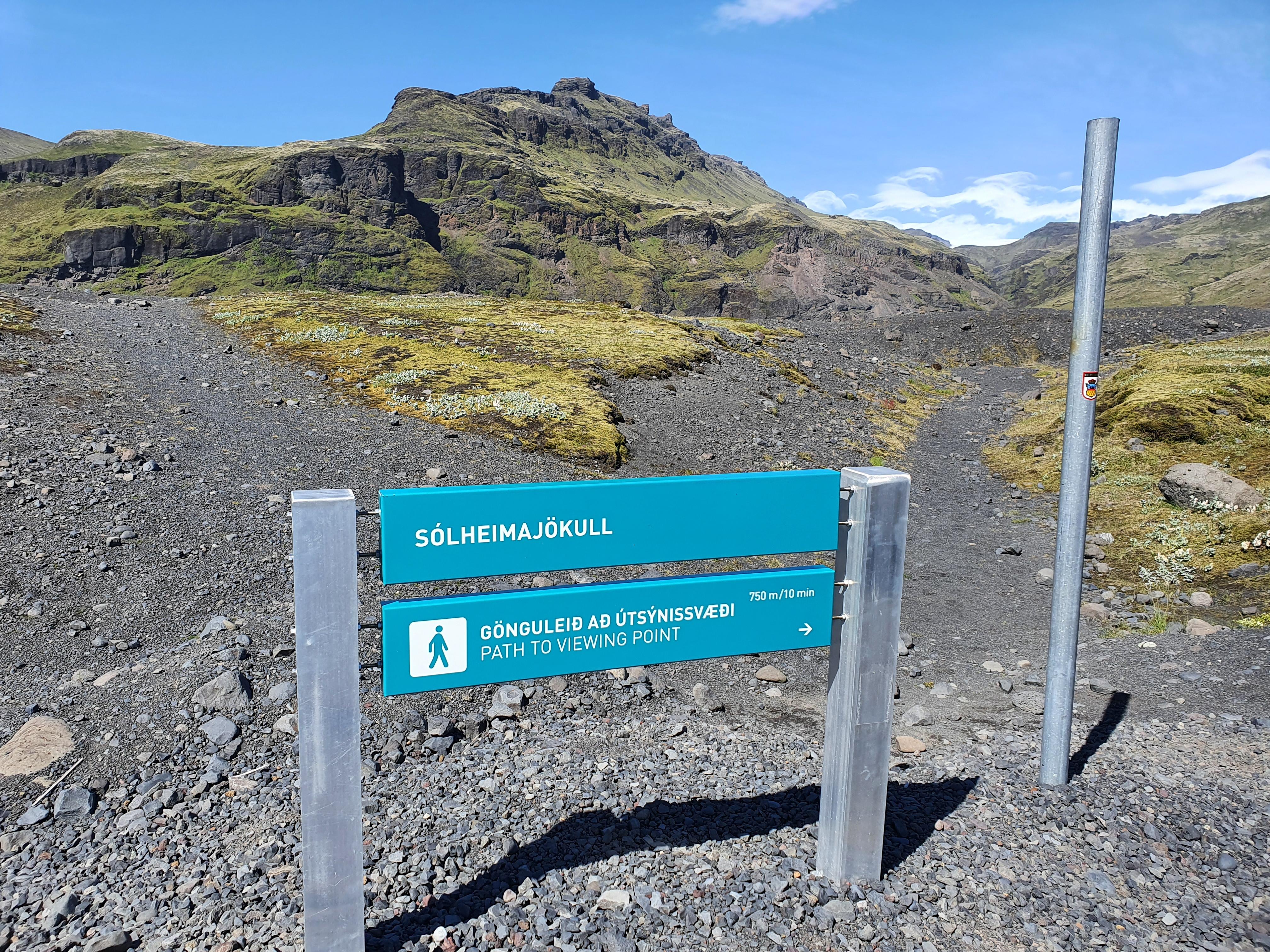 Island Weg zum Gletschersee des Solheimajökull