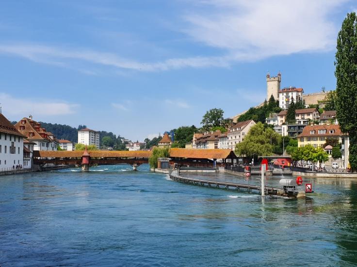 Luzern Blick auf Spreuerbrücke