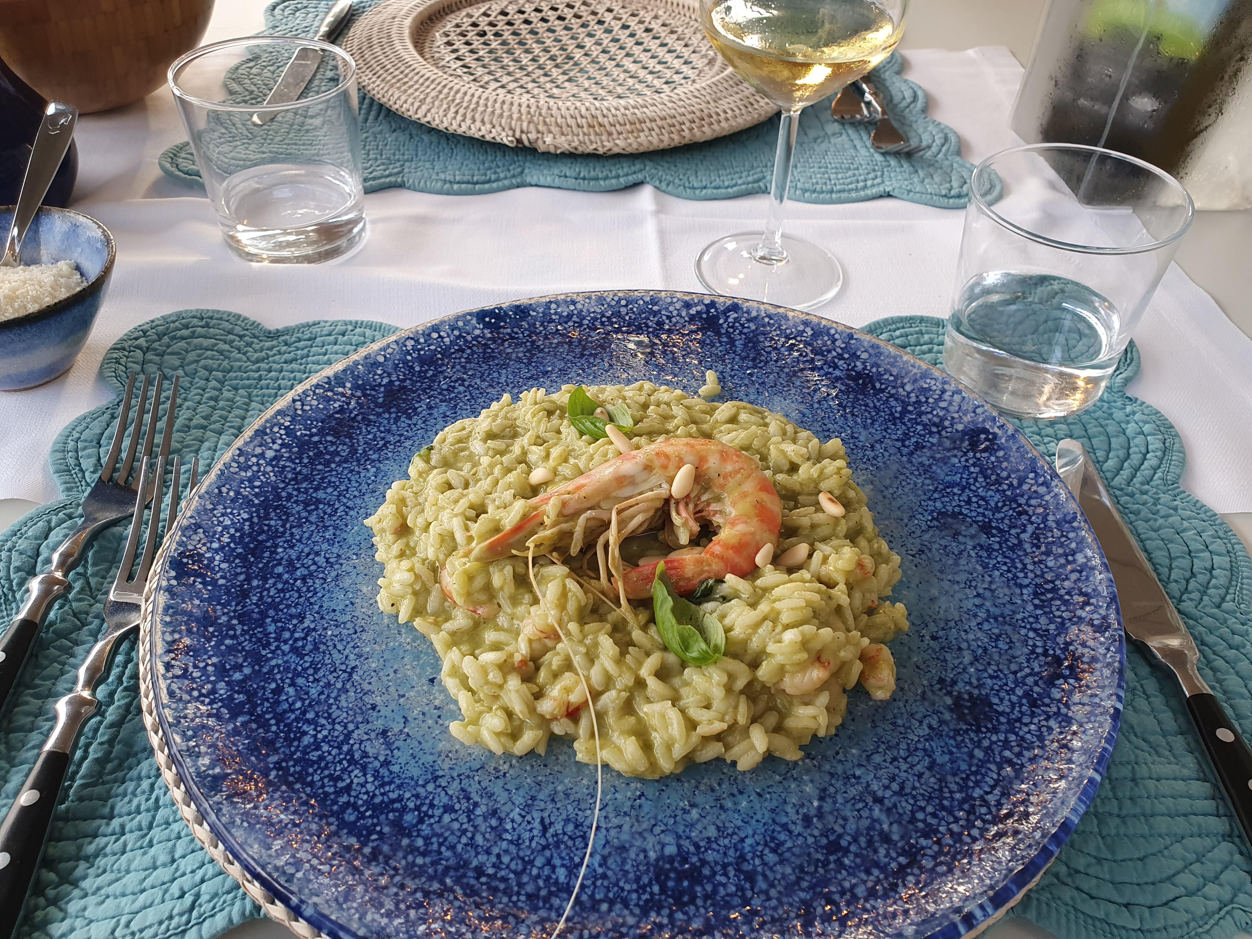Risotto mit Pesto und Garnelen im L'Ancora della Tortuga