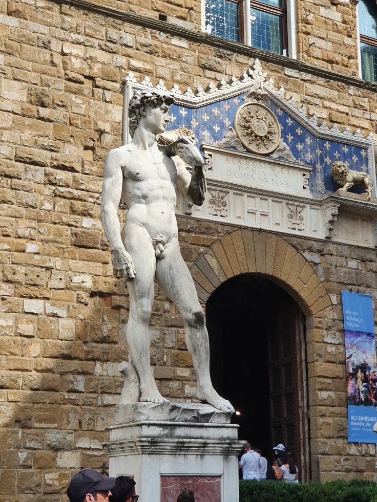 Florenz - Kopie von Michelangelos David vor dem Palazzo Vecchio